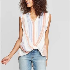 high low sleeveless vneck twist front top